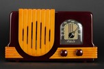 Addison 2 'Waterfall' Catalin Art Deco Radio in Merlot + Yellow