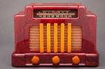 "Red + Yellow Catalin Art Deco Addison 5 ""Courthouse"" Radio"