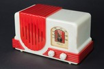 "Addison 2 ""Waterfall"" Catalin Art Deco Radio in Alabaster + Red"