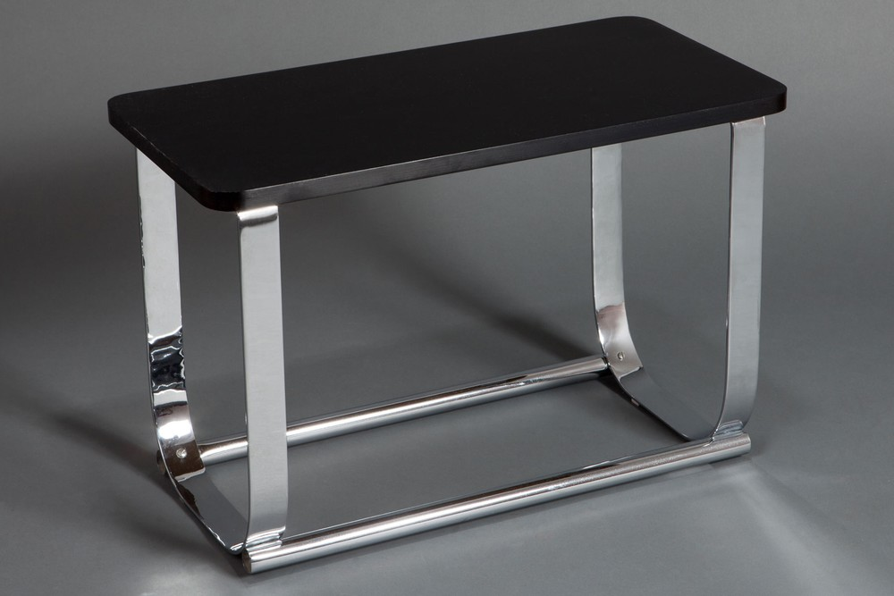 American Art Deco Black + Chrome Occasional Table
