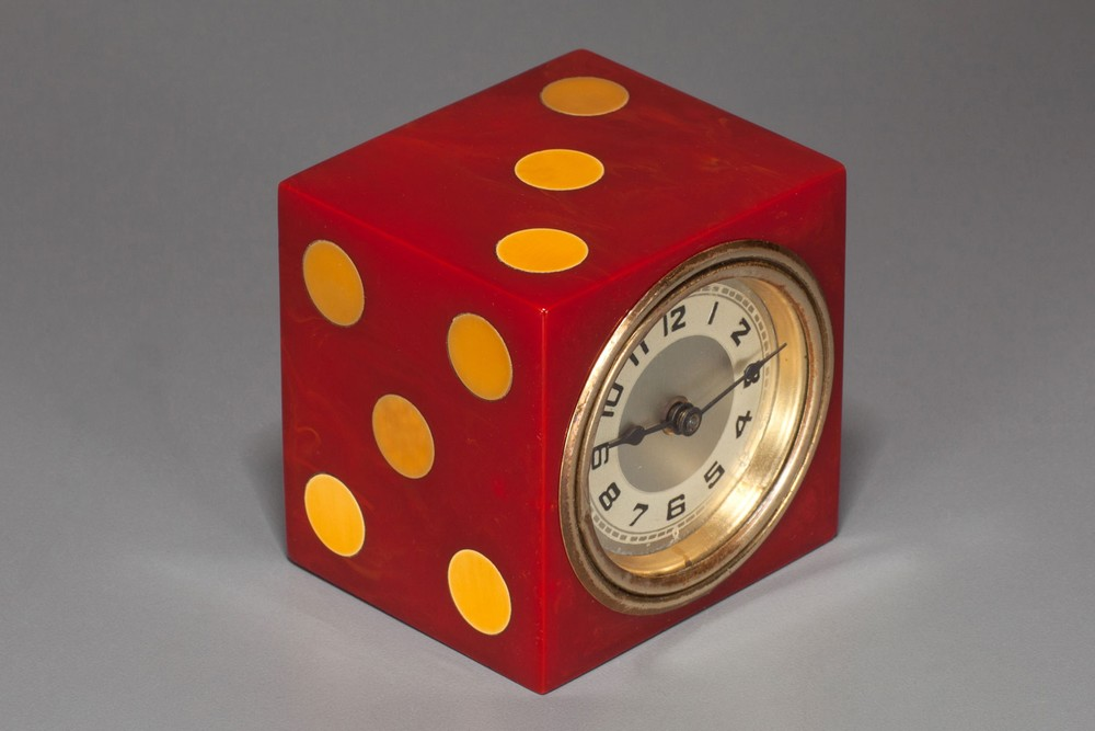 Catalin Bakelite New Haven 'Dice' Clock - Red with Yellow