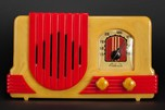 Catalin Addison 2 'Waterfall' Art Deco Radio in Yellow + Red