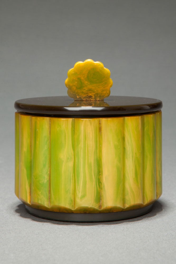 Bright Green Marbleized Catalin Powder Box with Art Deco Fluted Design