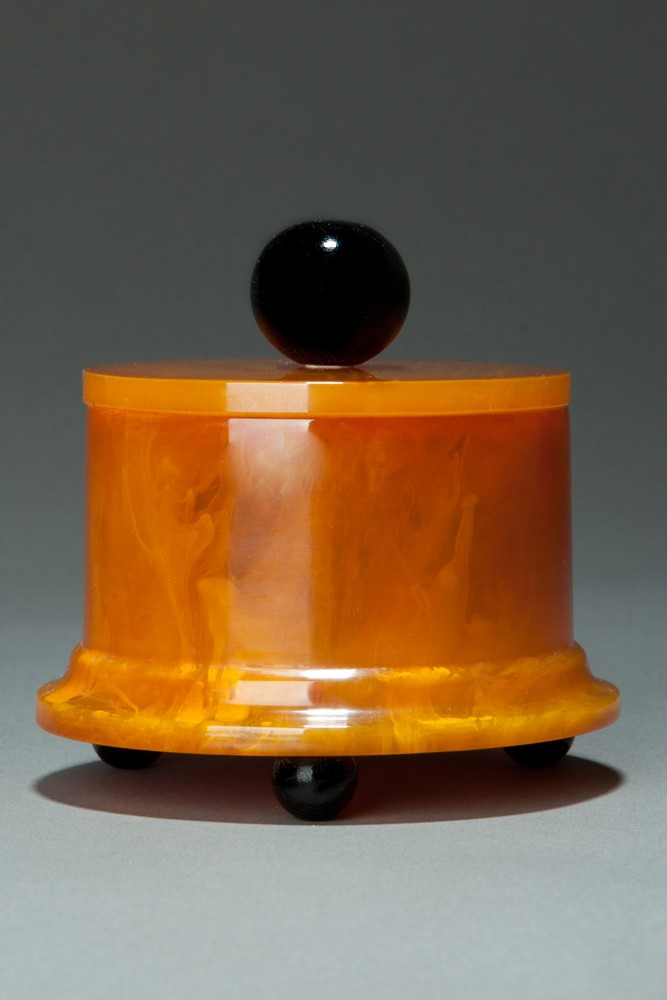 Beautiful Catalin Bakelite Box in Butterscotch with Black Accents