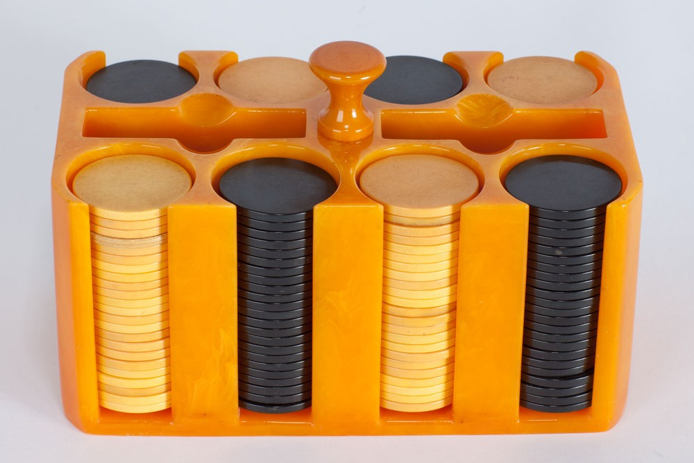 Incredible Bright Orange Catalin Poker Chip Holder - Yellow + Black Chips