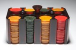 Catalin Bakelite Poker Chip Caddy with Chips - Rare Color Art Deco Design