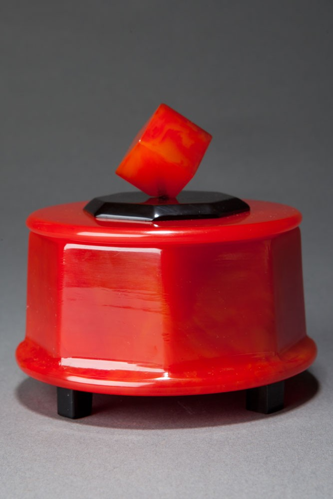 Great Catalin Box with Cube Finial in Watermelon Red + Black