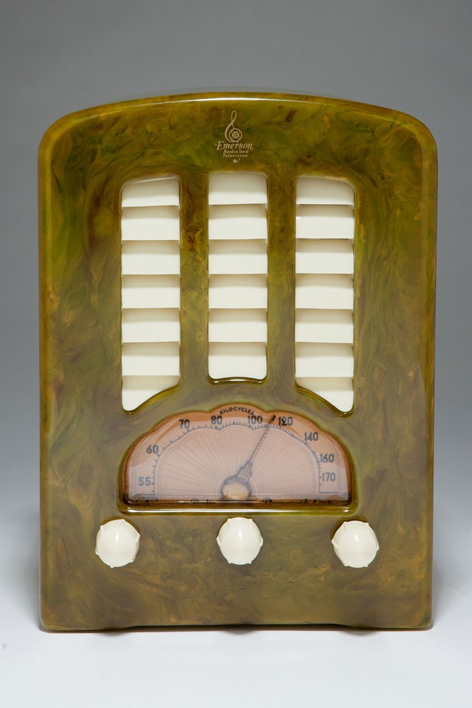 "Green Catalin Emerson BT-245 Radio - Highly Marbleized ""Tombstone"""