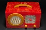 "Rare Motorola 50XC Radio ""Circle-Grill"" - Marbleized Red + Yellow Catalin"
