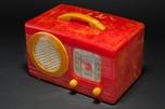 "Rare Motorola 50XC Radio ""Circle-Grill"" - Marbleized Red + Yellow Catalin"