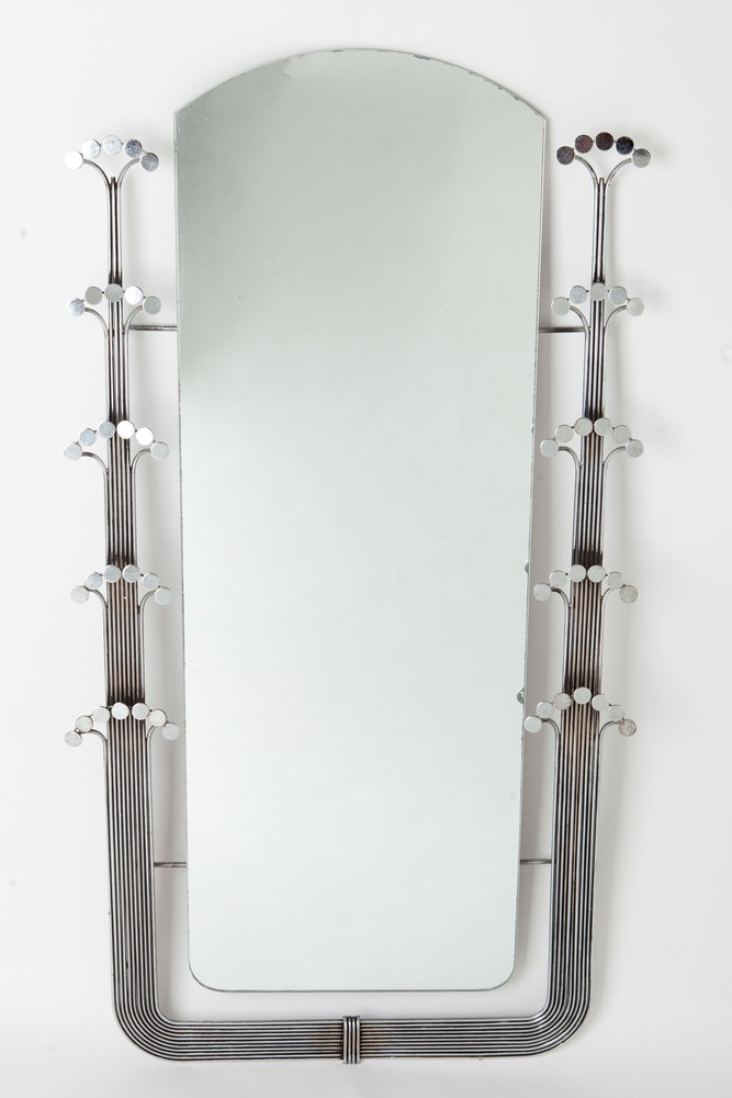 "Curtis Jere Mid-Century Modern Chrome ""Dot"" Wall Mirror"