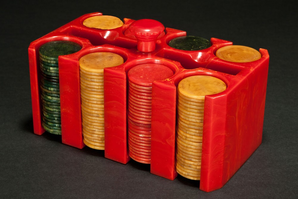 Catalin Bakelite Poker Chip Caddy with Chips - Bright Red Art Deco Design