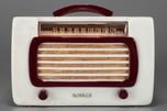 DeWald Catalin Radio 561 'Jewel' in Alabaster + Maroon