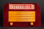 "DeWald A-502 Catalin Radio 'Step-Top"" in Oxblood with Yellow Insert Grill"