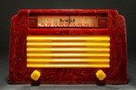 """DeWald A-502 Catalin Radio Insert Grill 'Step-Top"""" in Oxblood with Yellow"""