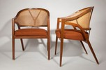 "Pair of Fine + Early Edward Wormley for Dunbar ""Y"" Back Captains Chairs"