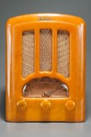 Emerson AU-190 Tombstone Catalin Radio in Butterscotch w/ Brown Marbleizing