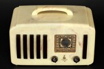 Emerson '5+1' EP-375 Catalin Radio in Alabaster + Brown with Handle