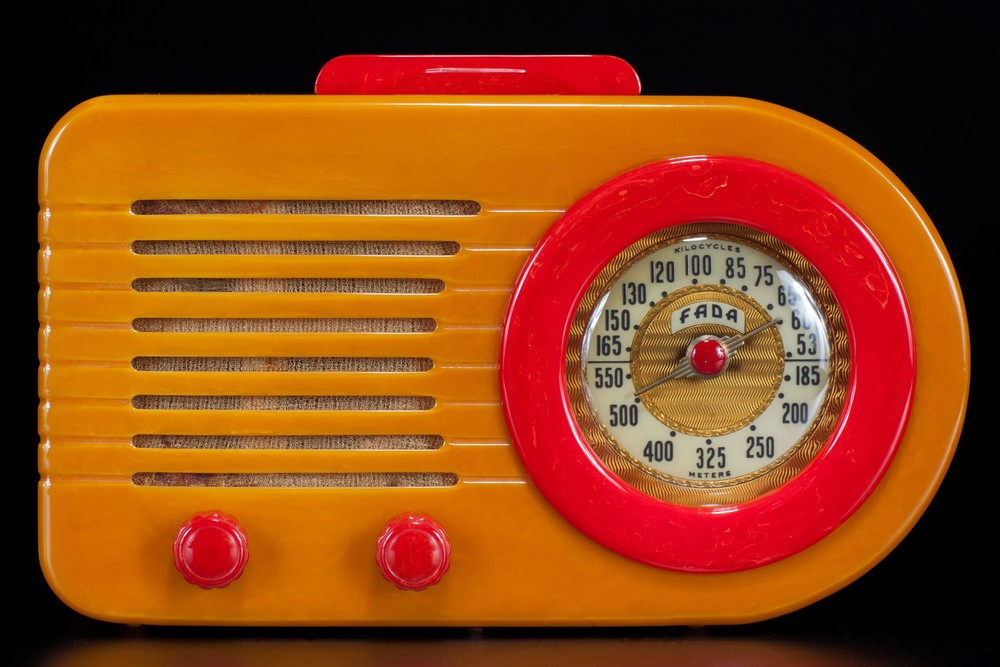 FADA 1000 Bullet' Catalin Radio in Butterscotch + Bright Red