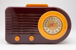 "Art Deco FADA ""Bullet"" Catalin Streamliner Model 1000 Maroon + Yellow Radio"