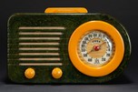 FADA 1000 'Bullet' Catalin Radio in Blue + Butterscotch w/ Great Marbling