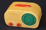 "FADA 845 ""Cloud"" Art Deco Radio in Yellow + Red Bakelite"
