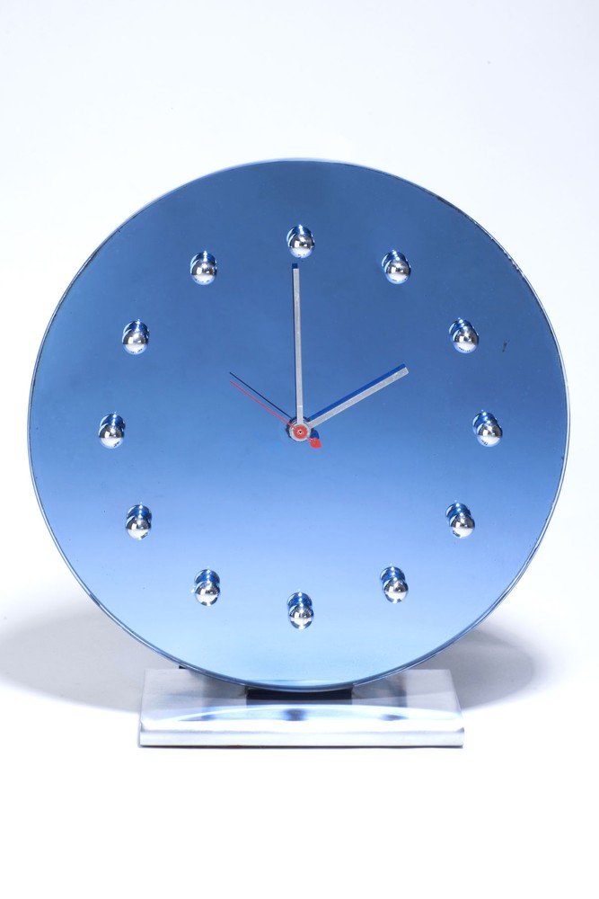 Gilbert Rohde Clock 4083 in Blue Glass Mirror with Chromium Accents