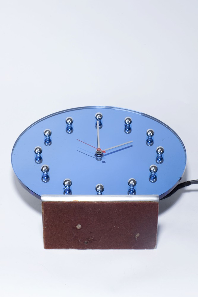 Gilbert Rohde Clock 4083 In Blue Glass Mirror With