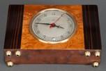 Stunning Art Deco Herman Miller Clock with Brass Trim + Exotic Wood Veneer