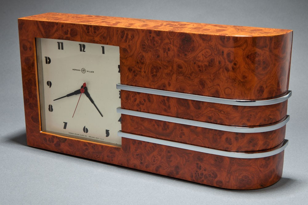 Gilbert Rohde Burlwood Clock Great American Art Deco