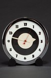 Rare Gilbert Rohde Art Deco Clock for Herman Miller w/ Black Cylindrical Feet