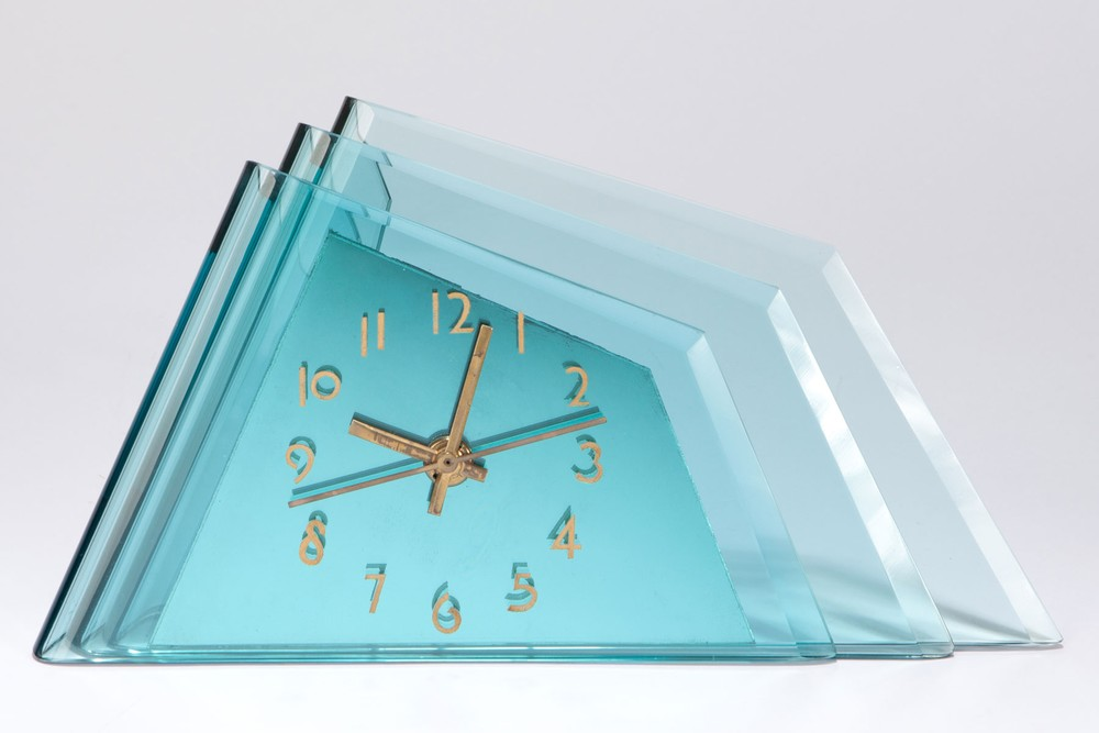 Deco Aqua Glass Crystal Bent Fyrart Waltham Clock