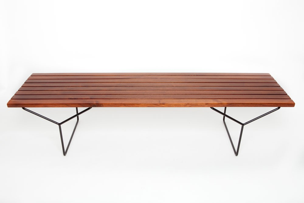 Harry Bertoia Walnut Slat Bench Or Coffee Table Designed For Knoll Furniture Decophobia