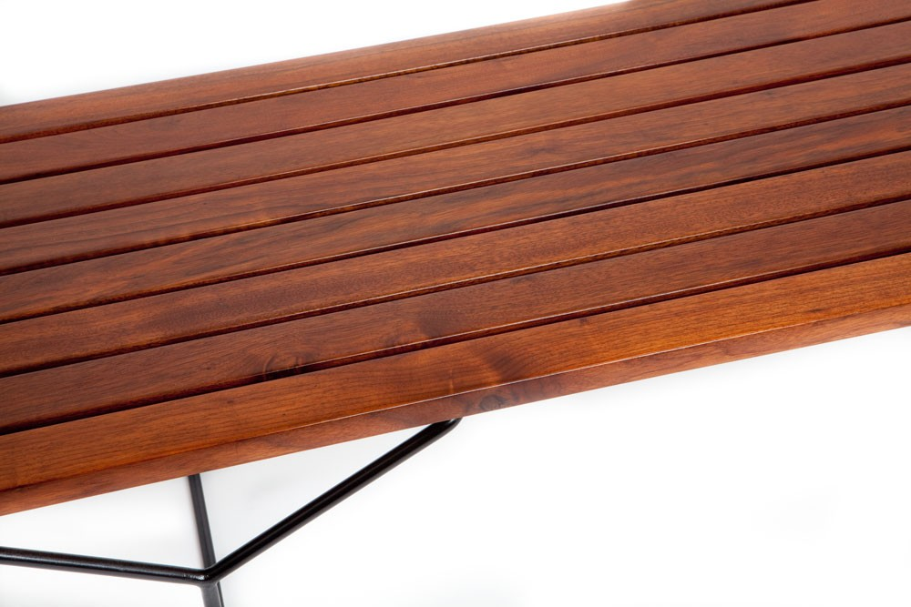 Harry Bertoia Walnut Slat Bench Or Coffee Table Designed For Knoll - Bertoia coffee table