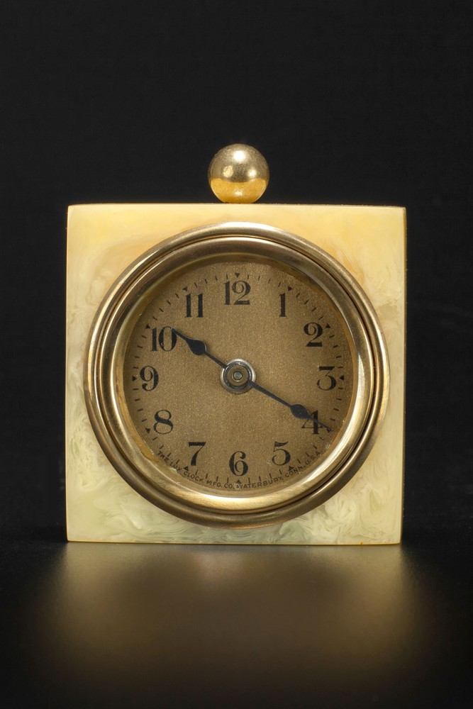 Deco LUX Clock in Marbleized Yellow Bakelite Catalin