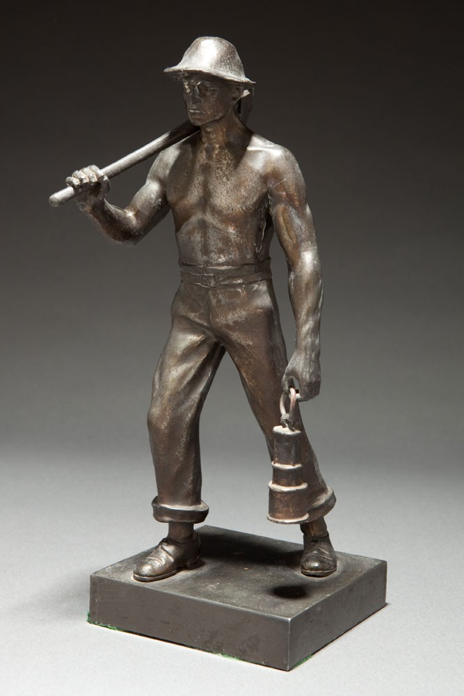 Machine Age WPA Mine Worker Gunmetal Sculpture