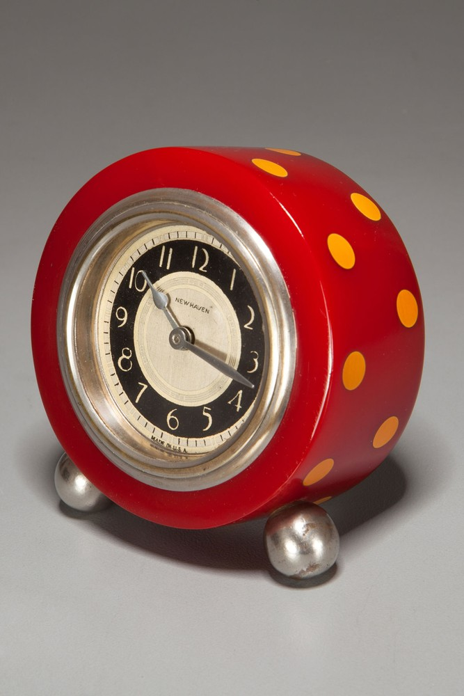 Red with Yellow Laminated Bakelite Polka-Dot Clock