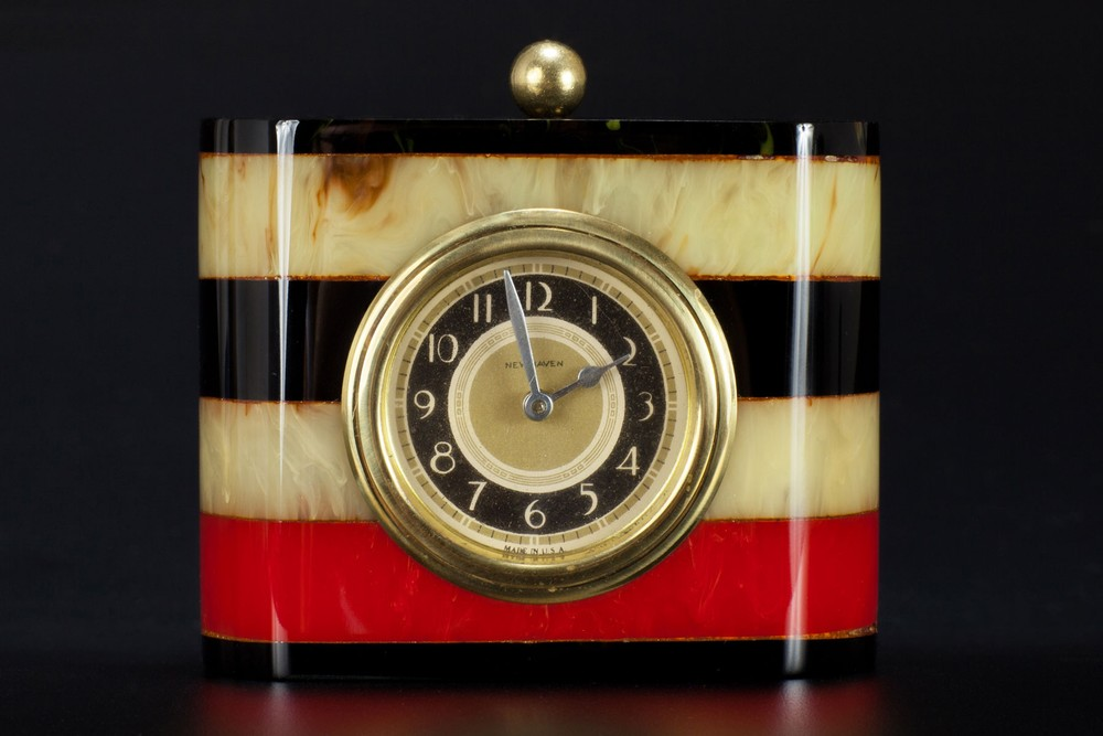 New Haven Multi-Color Laminated Catalin Bakelite Clock