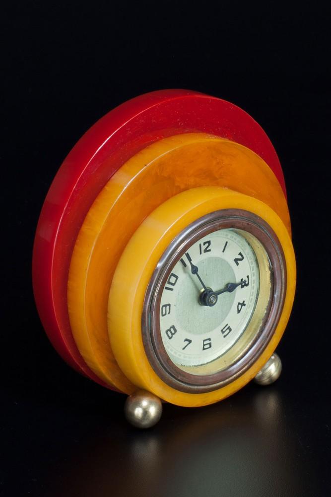Geometric New Haven Catalin Bakelite Clock - Tri-Color Disc Design