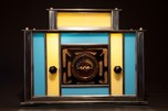 Radio-Glo Stained Glass + Chrome Radio in Blue with Yellow - Exceptional