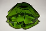 Art Deco Ruba Rombic Jungle Green Glass Cupped Bowl