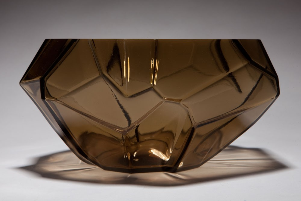 Art Deco Ruba Rombic Topaz Glass Cupped Bowl
