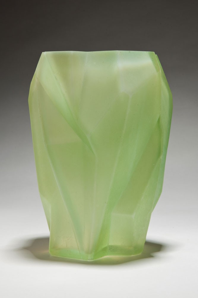 Ruba Rombic Jade Glass Vase American Art Deco