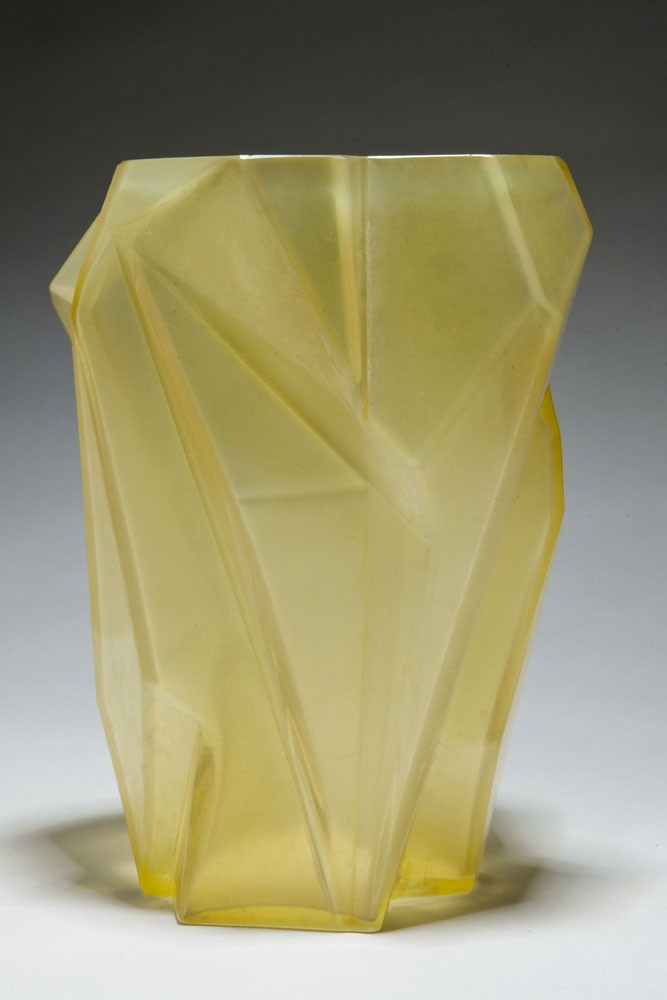 American Art Deco Ruba Rombic Sunshine Yellow Glass Vase