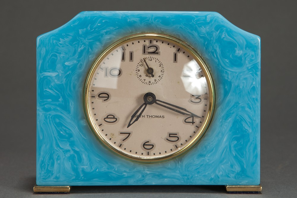 Art Deco Seth Thomas Catalin Bakelite Clock in Azure Blue