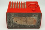 "Silvertone 4505 ""Election"" Art Deco Radio in Bright Red Plaskon Bakelite"