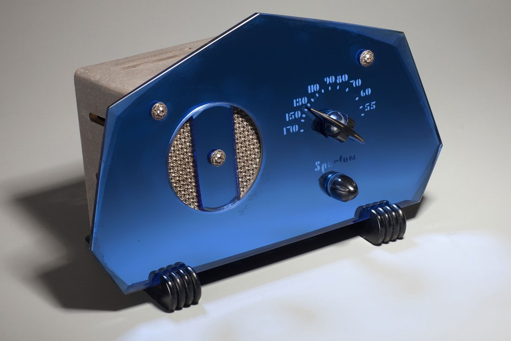 Sparton 409 Cobalt Blue Mirror '7-Sided' Radio - Teague Design