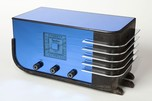 "Sparton 557 ""Sled"" Radio Blue Mirror Walter Dorwin Teague Design"