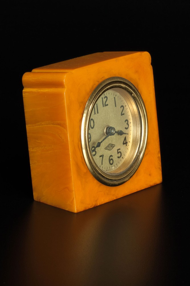 Deco Viking Clock in Marbleized Butterscotch Bakelite Catalin