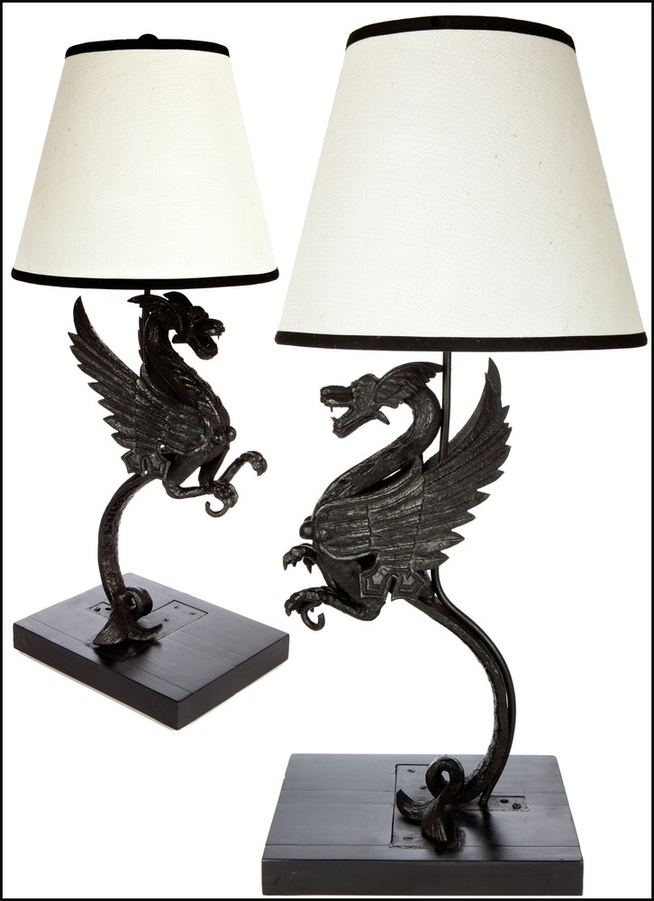 Splendid Pair of Iron Sea-Wyvern Antique Lamps - Monumental